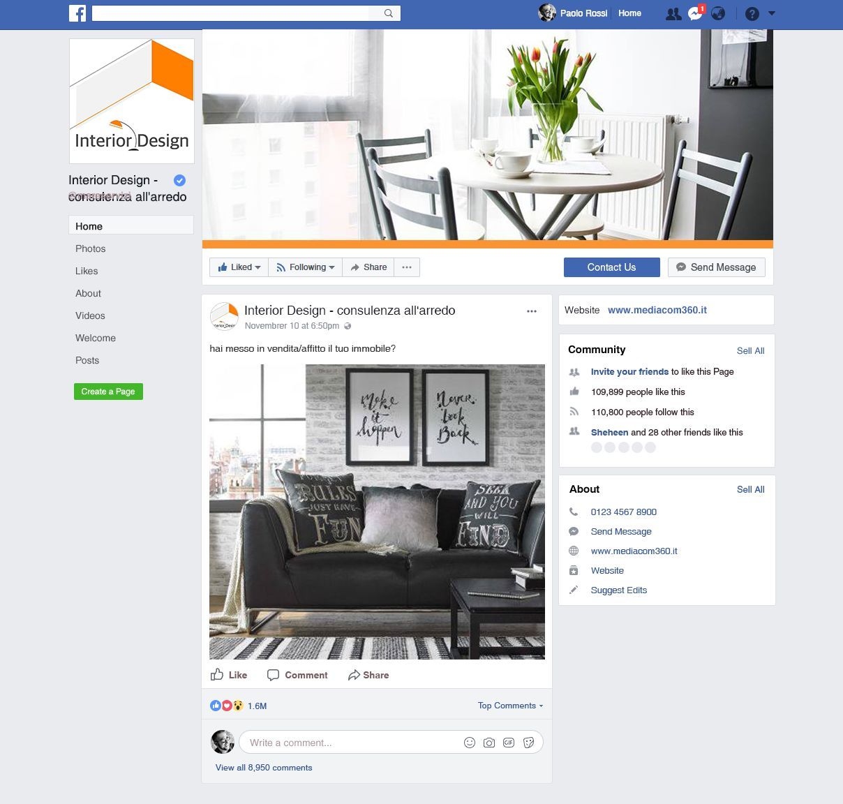 Interior design- facebook -consulenza all'arredo -mediacom360